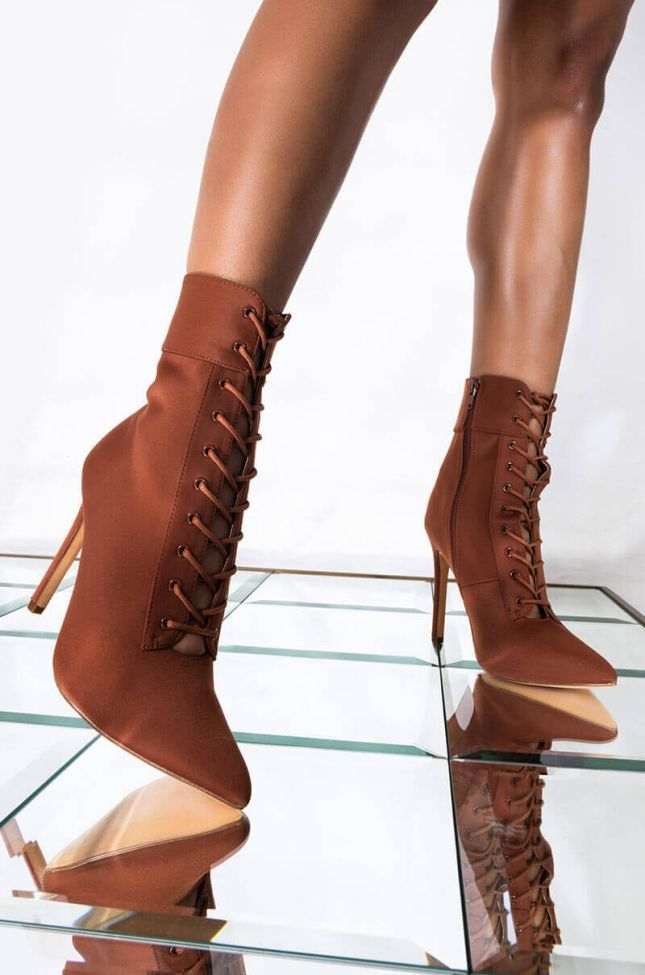 Front View Up All Night Stiletto Bootie in Cognac