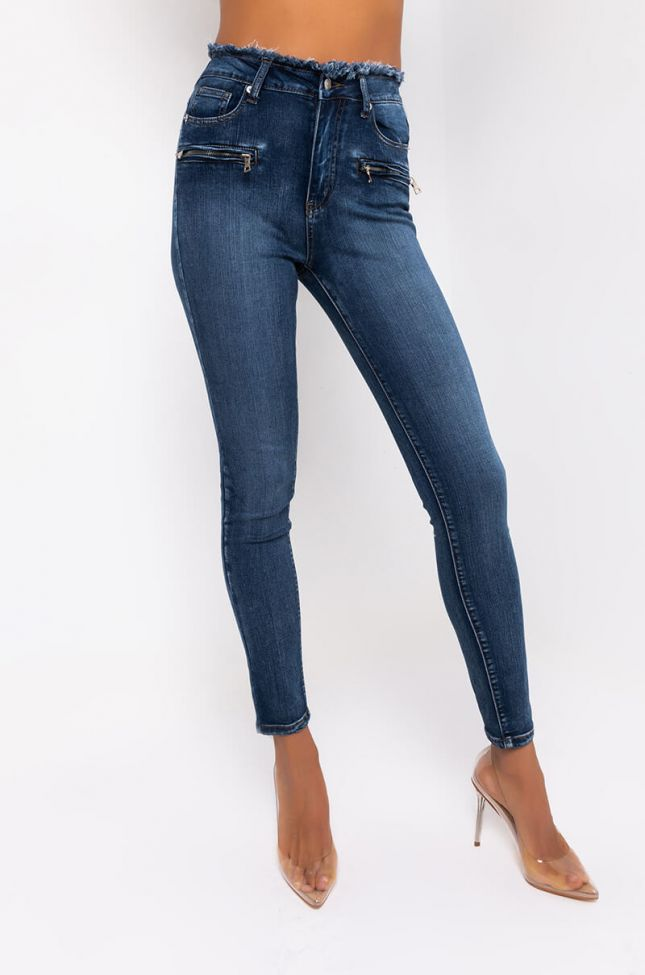 Front View Vanilla Sky High Waisted Skinny Jeans in Medium Blue Denim