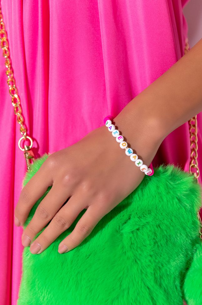 Front View Vaxed And Waxed Beaded Bracelet in Neon Pink