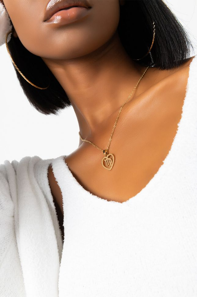 Front View Virgo Charm Necklace in Gold