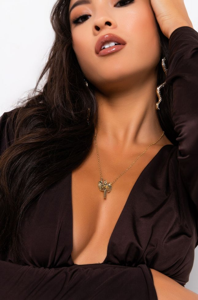 Front View Virgo Figure Necklace in Gold