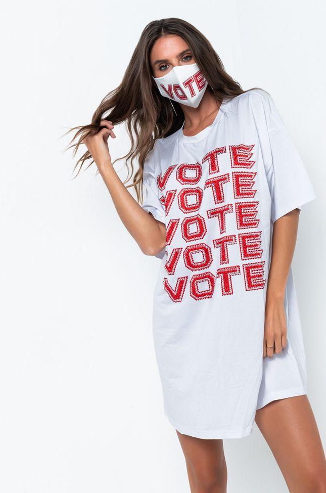 Side View Vote Vote Vote Rhinestone T- Shirt Dress in White
