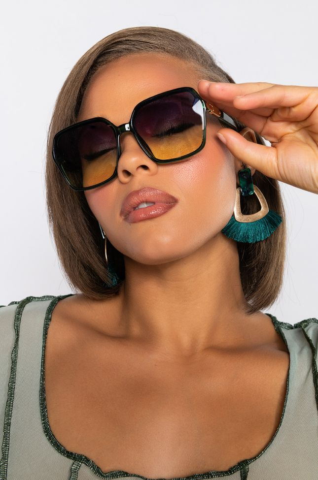 Front View Walk Away Oversized Sunglasses in Green Multi