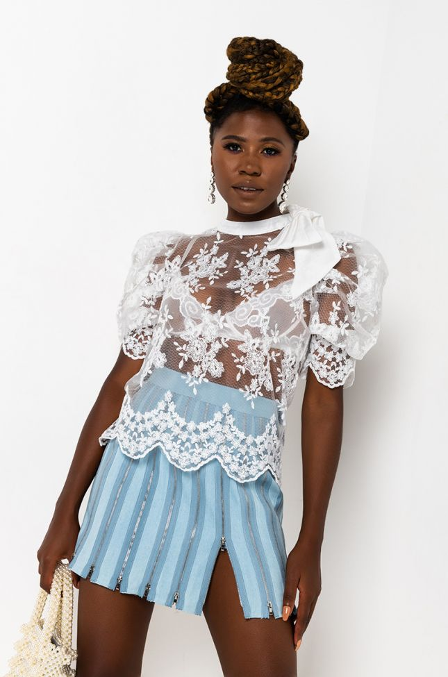 Front View Walk In The Park Long Sleeve Mesh Blouse in White