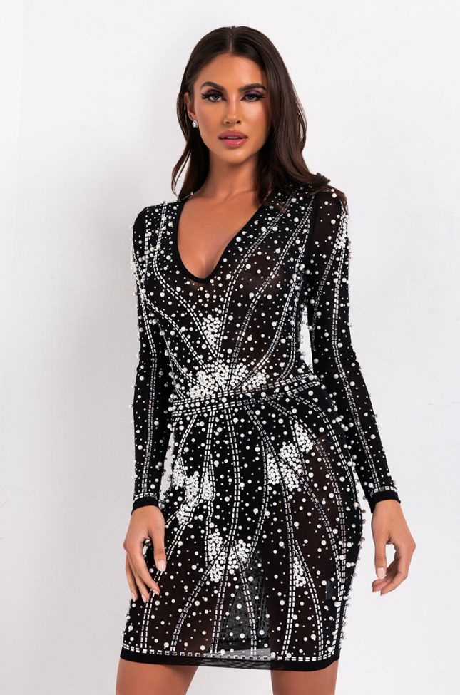 Front View Walk It Out Rhinestone And Pearl Long Sleeve Dress in Black