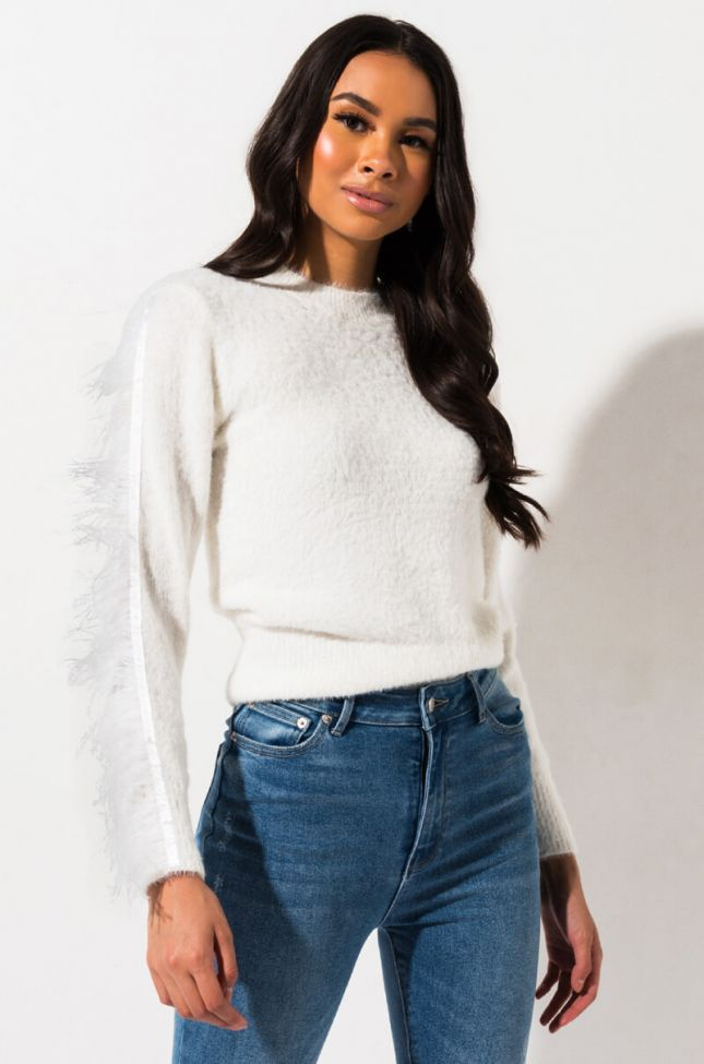 Front View Walk To The Bank Ostrich Trim Sweater in White