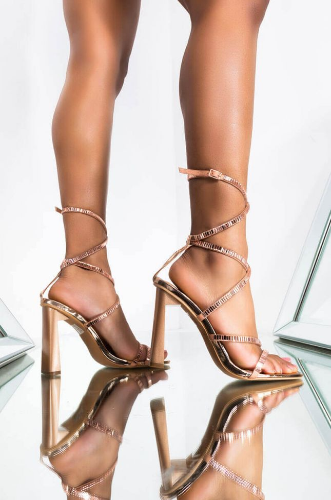 Front View Walking On Diamonds Chunky Sandal in Rose Gold