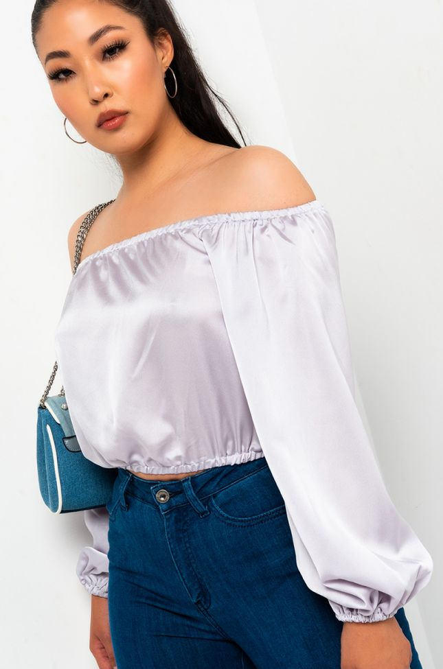 Front View Wanna Be Off The Shoulder Blouse in Silver