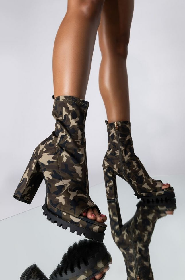 Front View Wanna Dance With Somebody Open Toe Chunky Heel Bootie in Camo