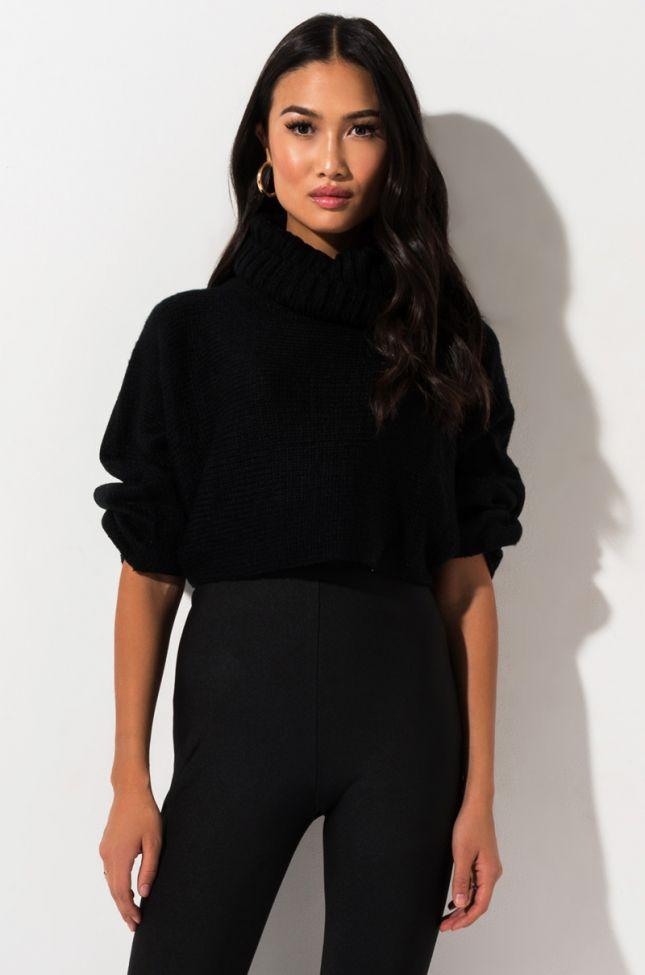 Front View Wanna Hang Cozy Crop Turtleneck Sweater in Black