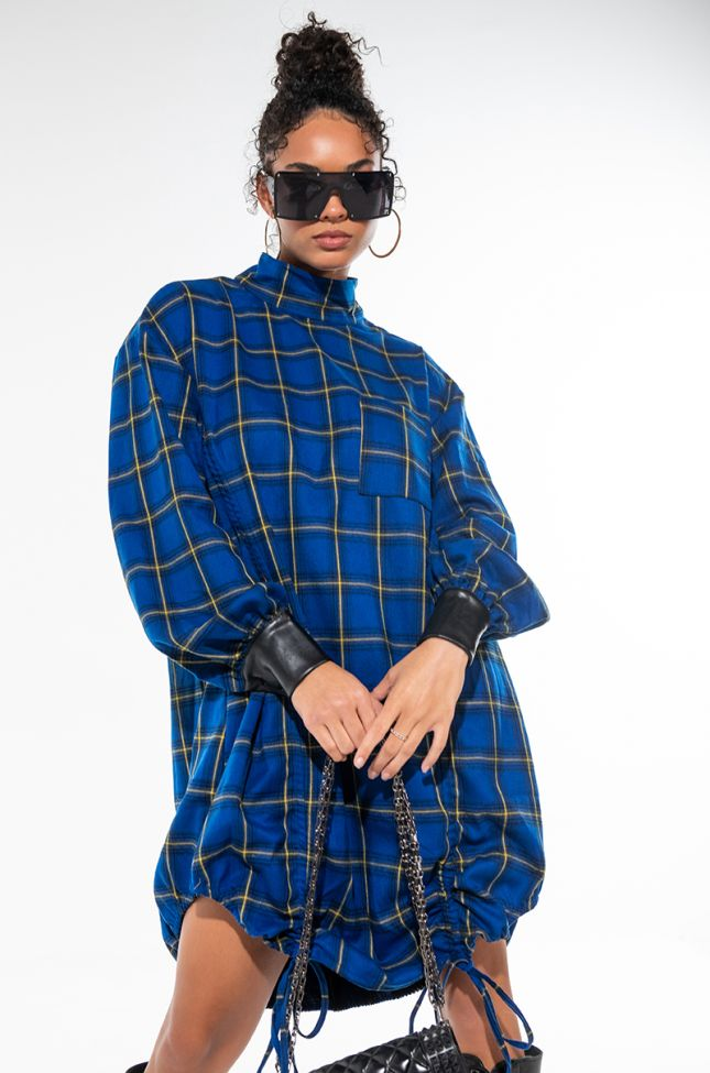 WANTS AND NEEDS THIS MOCK NECK PLAID DRESS