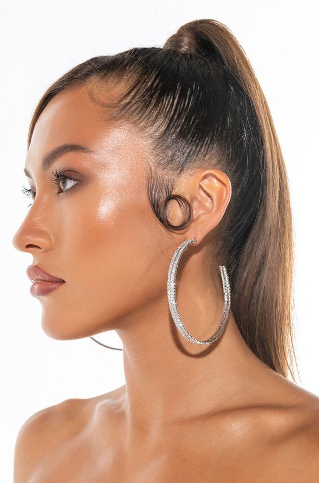 Front View Wap Bling Hoop Earrings
