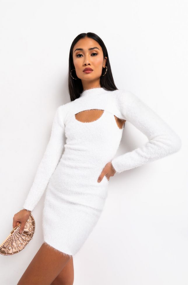 Front View Warm And Sexy Fuzzy Long Sleeve Crop Sweater in White