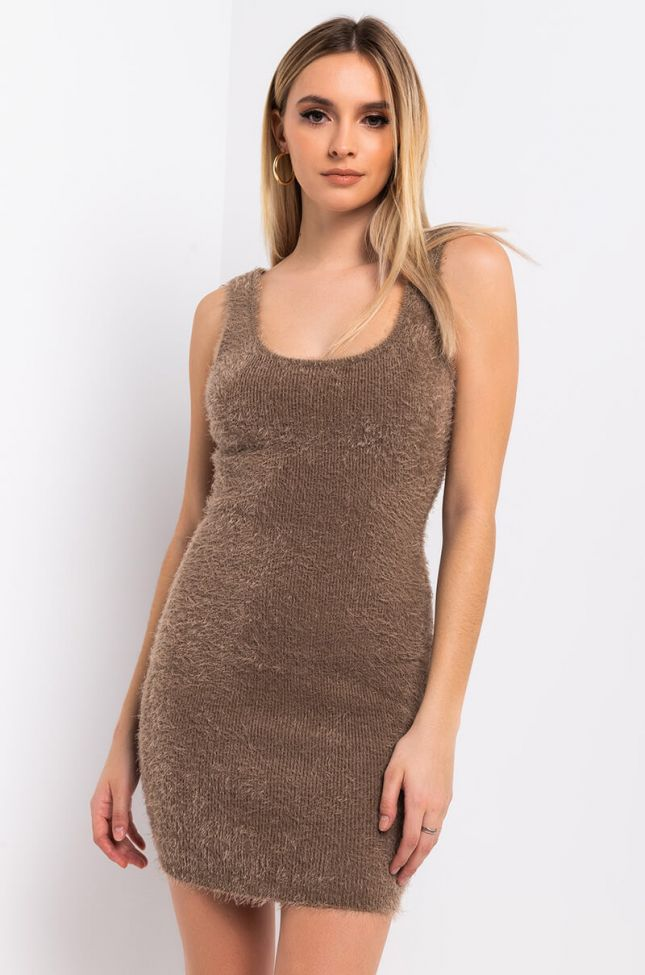 Front View Warm And Sexy Fuzzy Mini Dress in Mocha