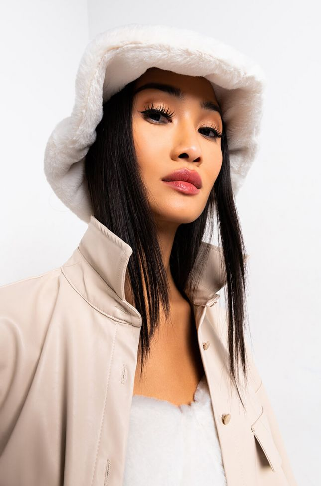 Front View Warm It Up Faux Fur Bucket Hat in Ivory