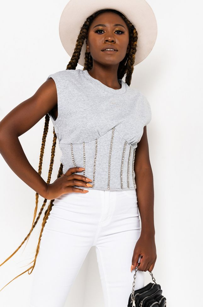 Front View Warm Up Corset Knit Top in Heather Grey