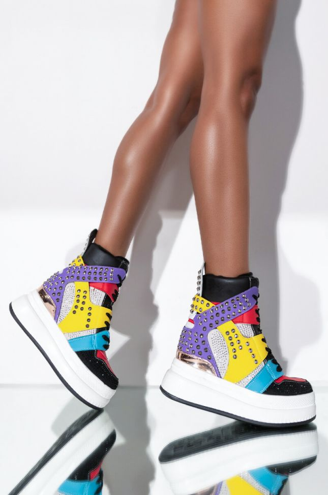 Front View Watch Your Distance Wedge Sneaker