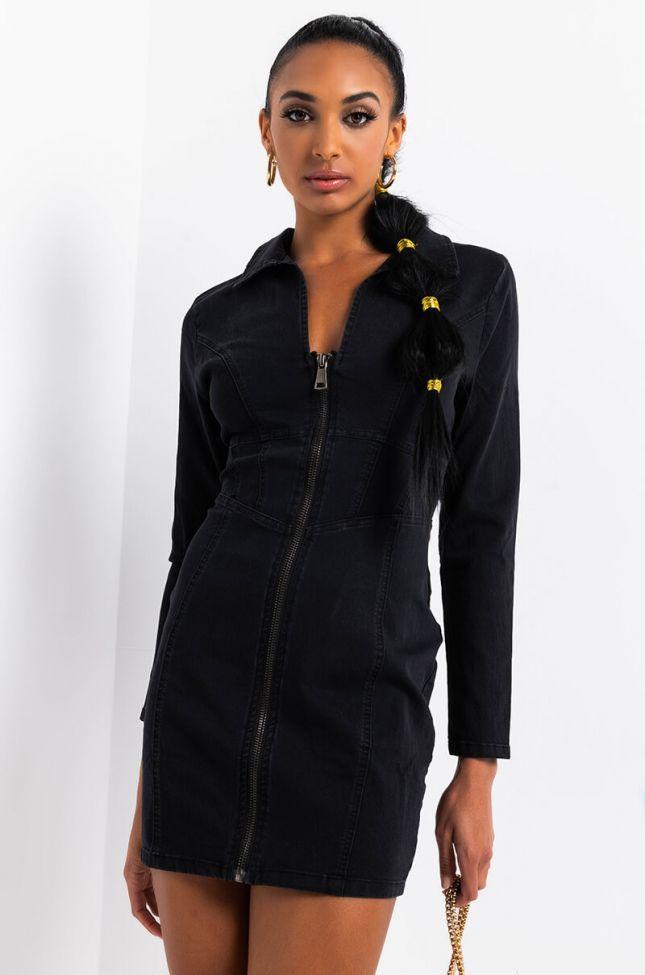 Front View Way To My Heart Long Sleeve Denim Mini Dress in Black Denim