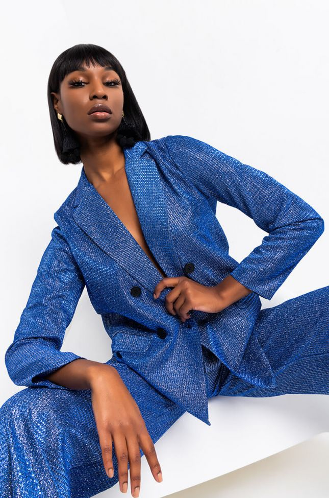 Front View We Can Go Back Sparkle Blazer in Blue
