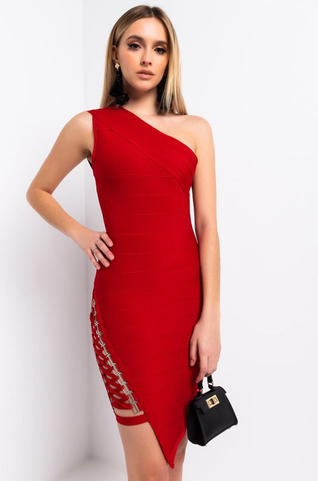 Front View We Keep It Raw One Shoulder Lace Up Side Mini Dress in Red