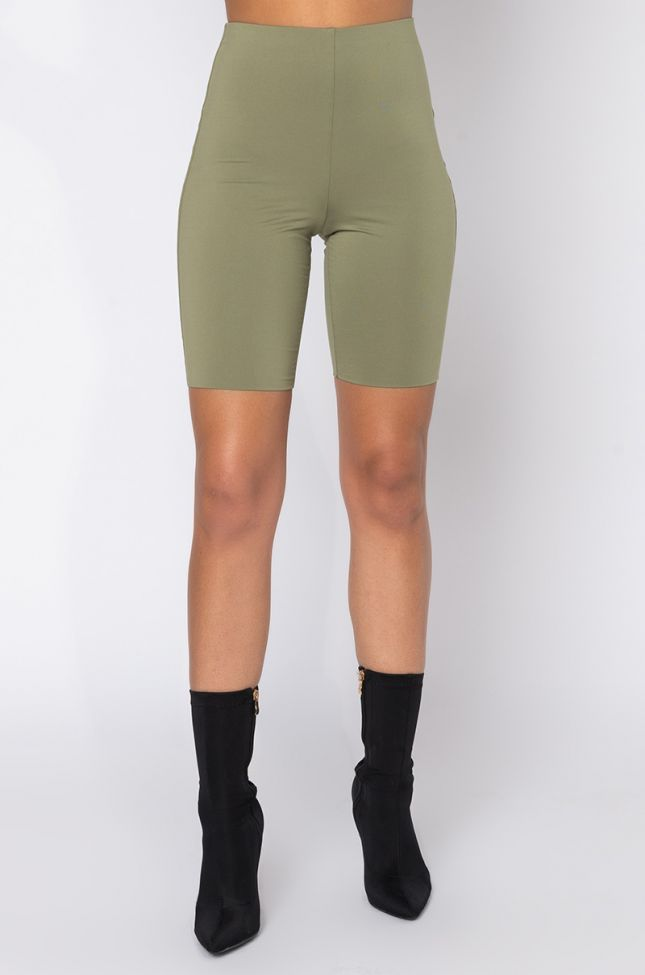 Front View We The Best Biker Shorts in Olive