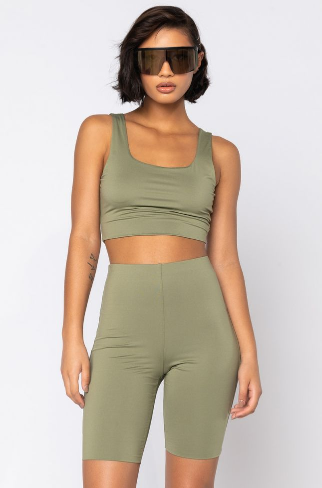 Front View We The Best Crop Top in Olive