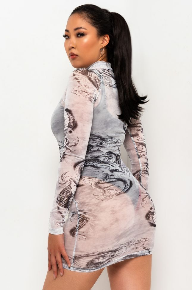 Back View Welcome To My Lair Long Sleeve Sheer Mini Dress in Grey
