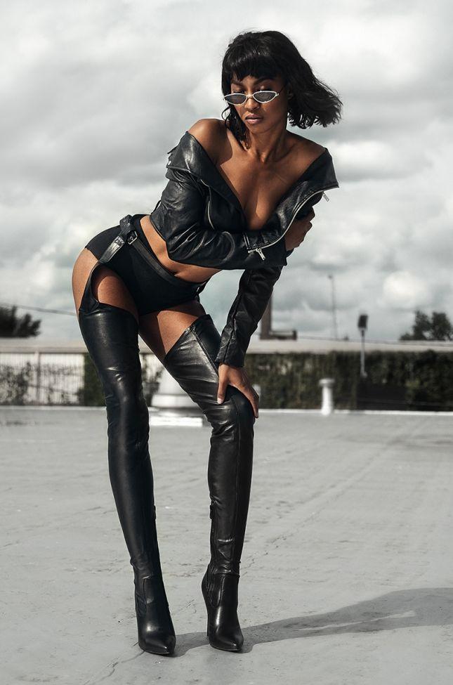 Azalea Wang Belted Chap Thigh High Stiletto Boot in Black Pu