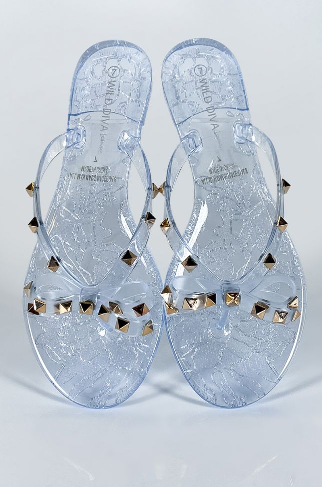 Full View What You Know Studded Sandal Flat in Clear