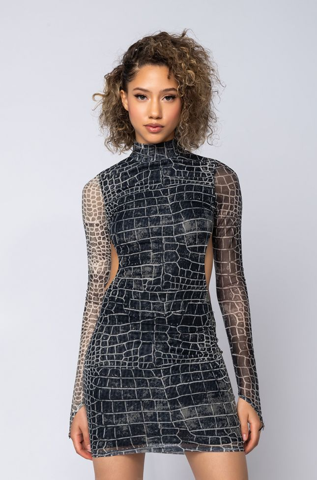 Front View When I Call Snake Mesh Mini Dress in Grey Multi
