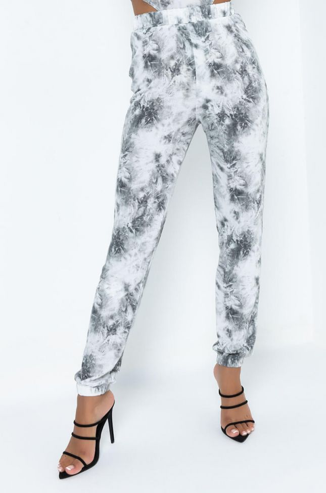 Front View When I Call Tie Dye Jogger in White Multi