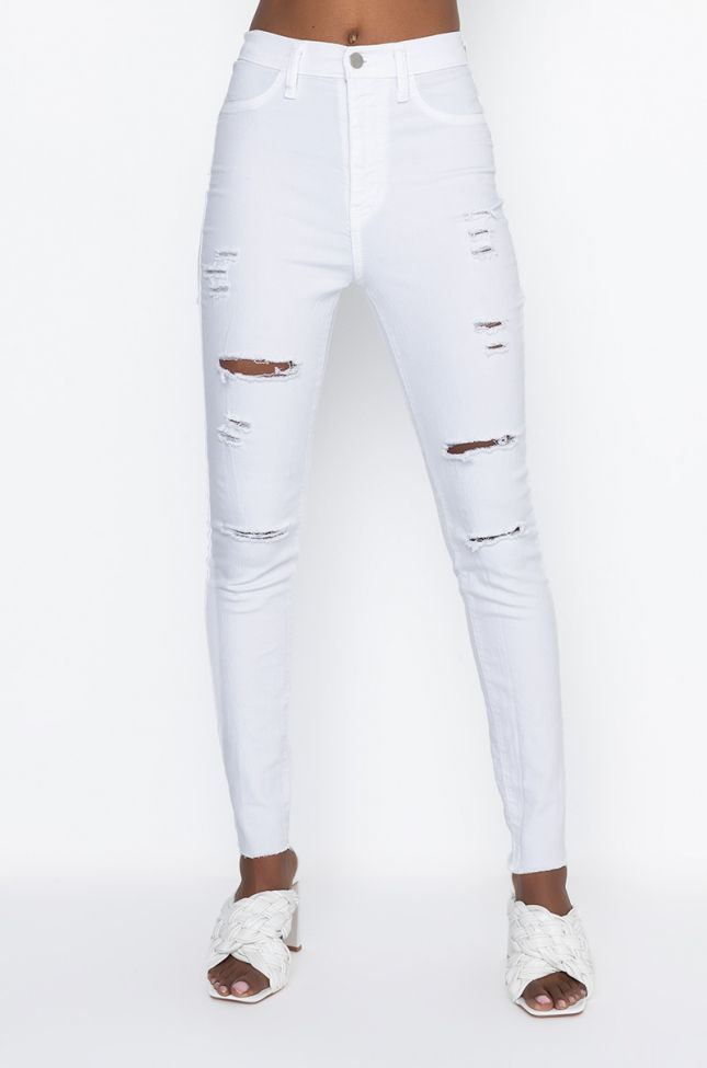 Front View White Mood High Rise Distressed Skinny Jeans in White