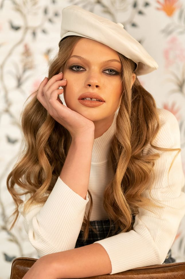 Front View White Pu Beret