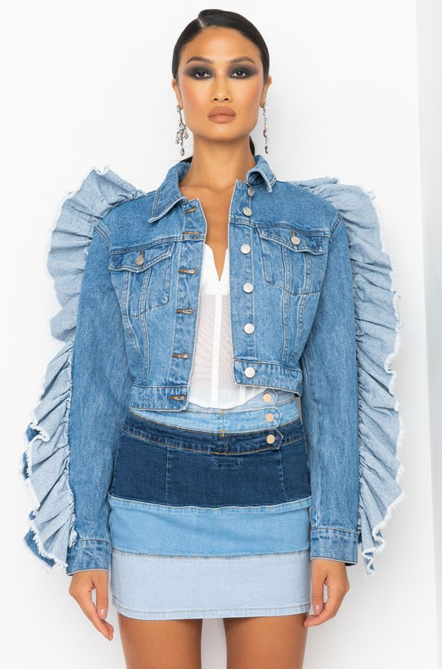 Front View Who Is She Ruffle Sleeve Jean Jacket in Denim