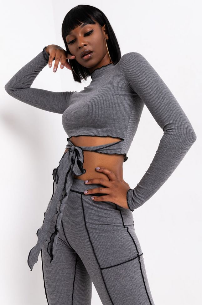 Front View Why Not Stitch Detail Rib Long Sleeve Top in Charcoal Grey