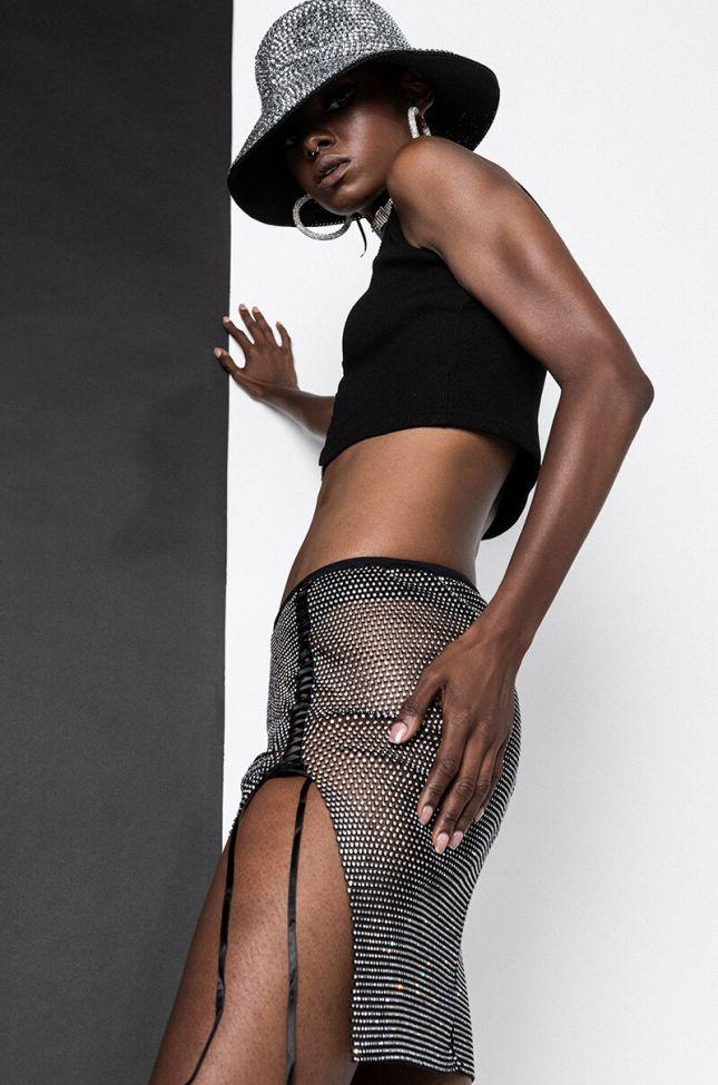 Wilder Rhinestone Mesh Mini Skirt in Black