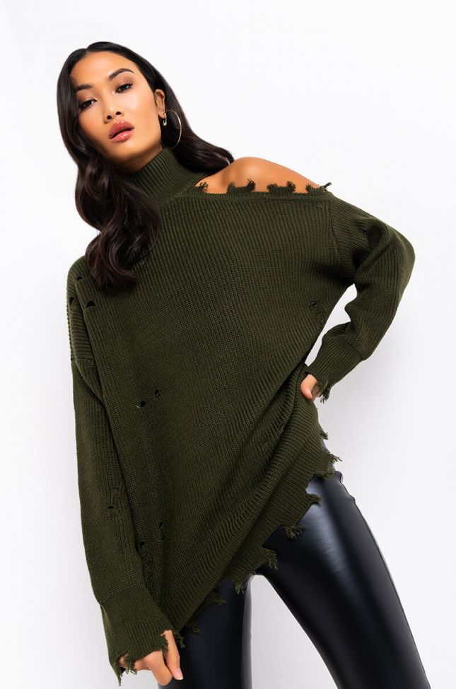 Front View Willa Cold Shoulder Distressed Long Sweater in Olive