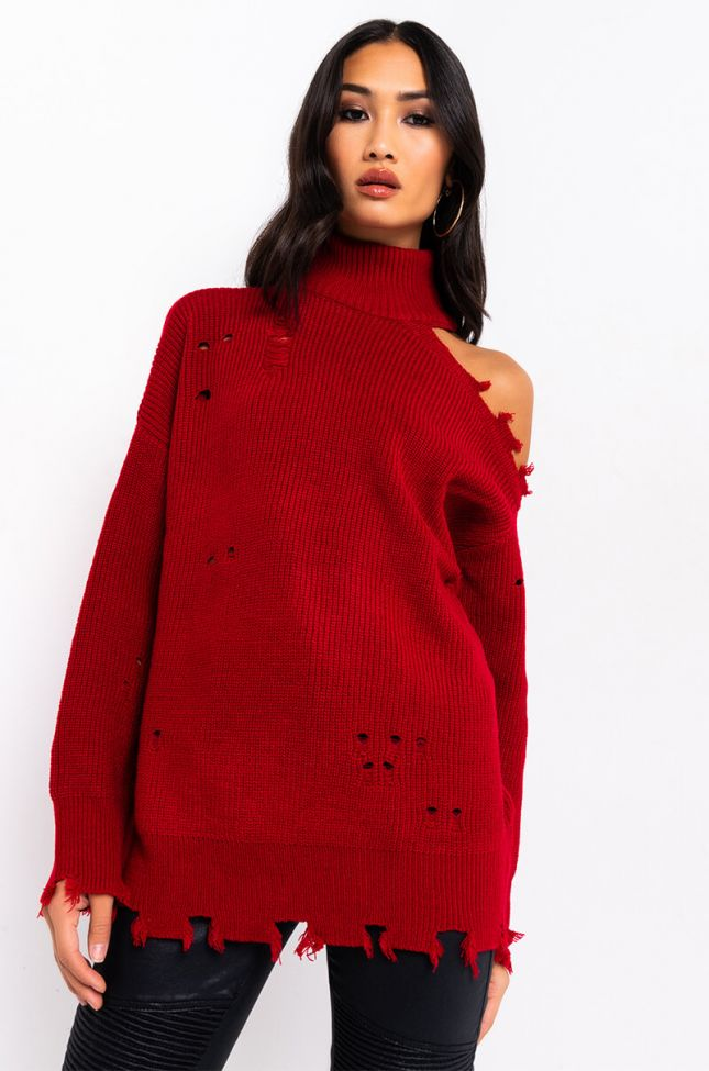 Side View Willa Cold Shoulder Distressed Long Sweater in Red