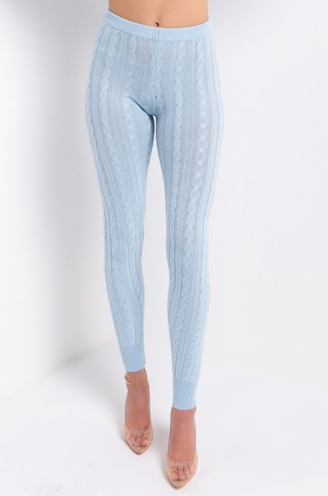 Front View Wish Upon A Star Casual Knit Legging in Blue