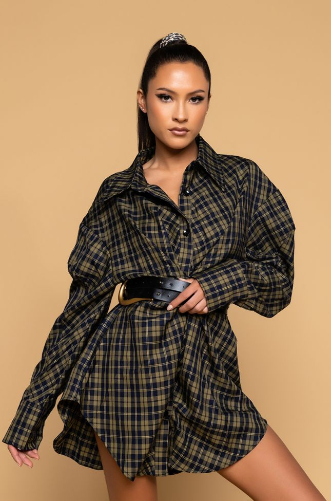 Front View Wish You Were Here Plaid T Shirt Dress With Oversized Belt in Green Multi