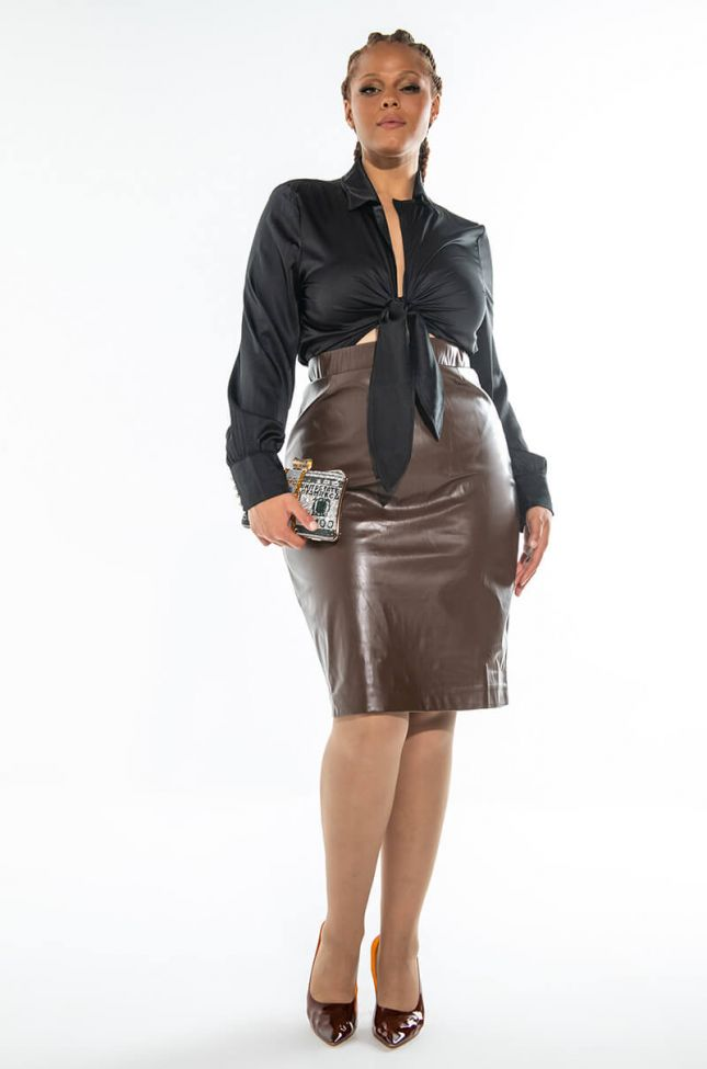 Extra View With Love.. Faux Leather Midi Skirt Plus Size