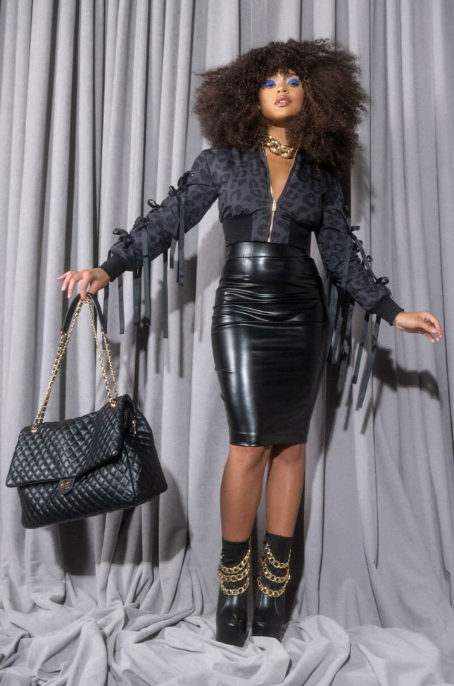 Extra View With Love.. Faux Leather Midi Skirt