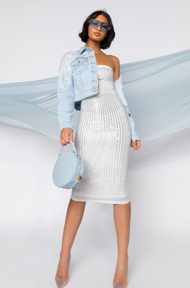 WITH THE CURVES MIDI TUBE DRESS