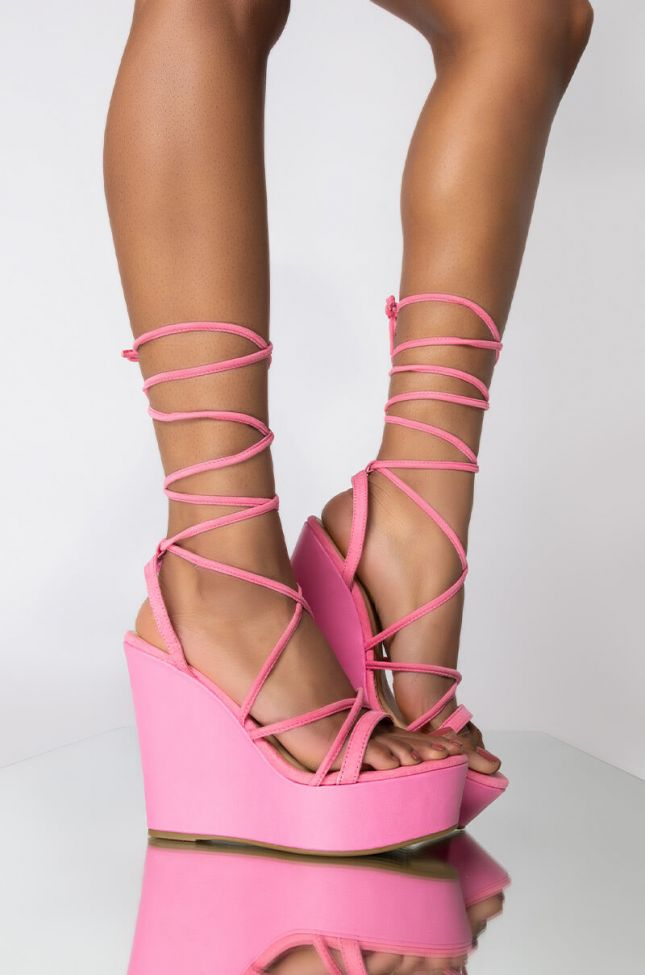 Front View With You All Night Wedge Sandal in Pink