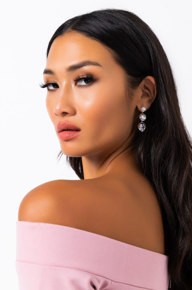 Front View Woke Up Like This Rhinestone Dangle Earring in Gold