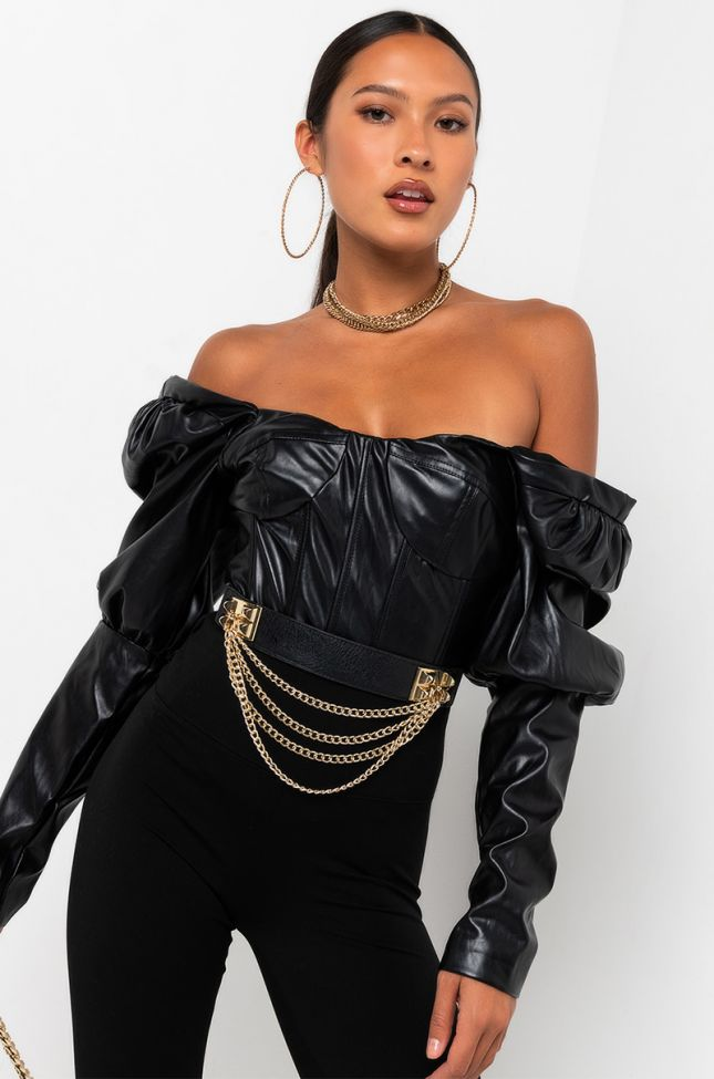 Front View Wonders Long Sleeve Faux Leather Top in Black