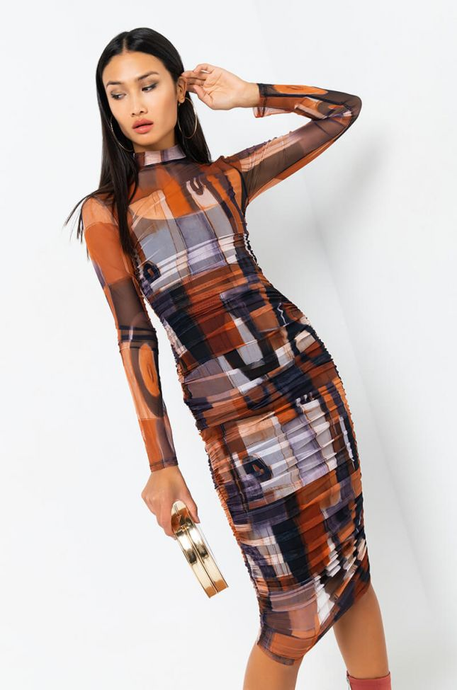 Front View Work Of Art Ruched Mesh Midi Dress in Rust
