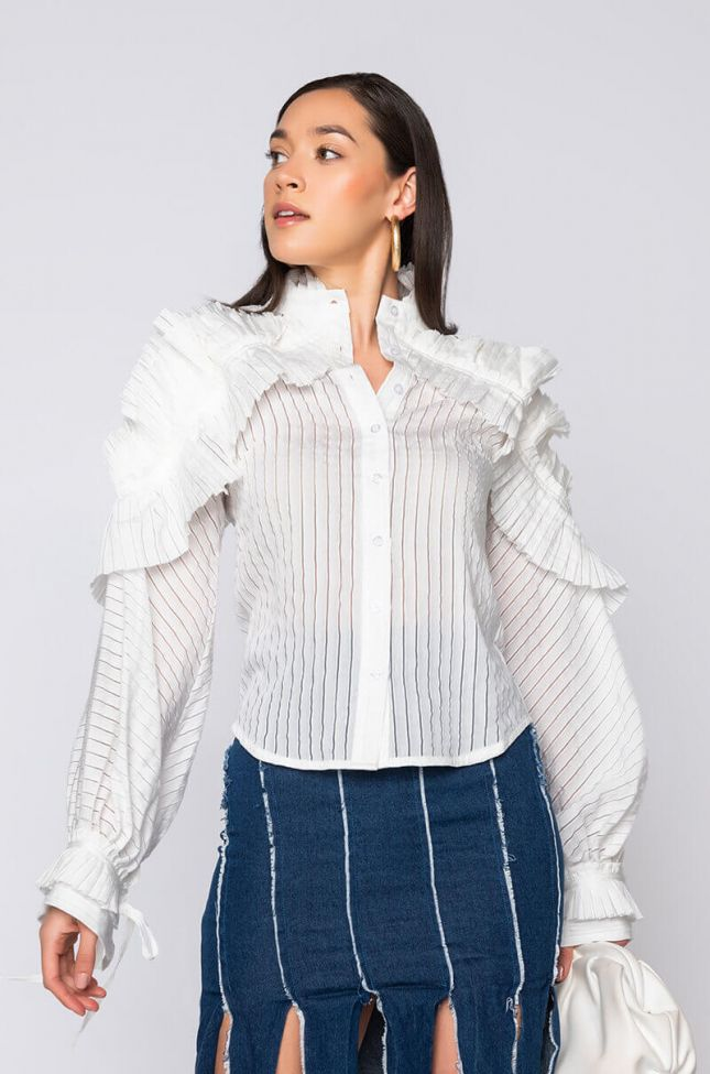 Side View Workaholic Button Up Fashion Blouse in White
