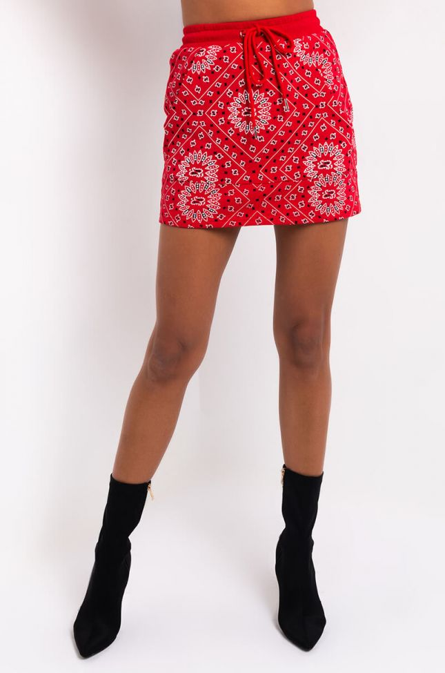 Front View Working On The Weekends Mini Skirt in Red