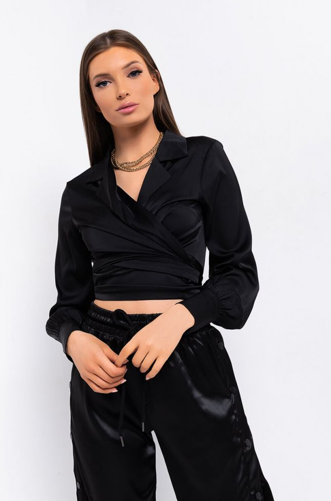 Front View Wrap Me Tie Front Blouse in Black